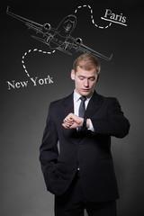 Businessman planning business travel