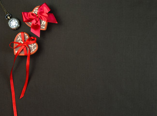 Holiday gifts on fabric background