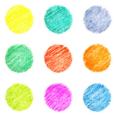 Set of hatched colourful circles