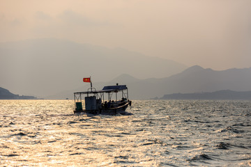 Local Boats At Subset in Vietnam