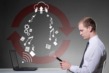 Businessman using cloud service