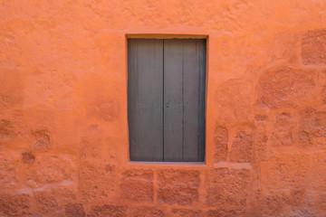 wooden window in Santa Catalina monastery Arequipa Peru
