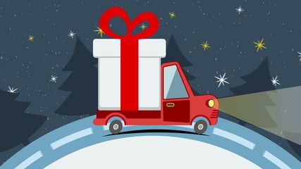 Christmas animated greeting card with gift delivery van