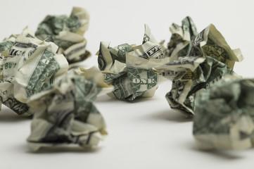 Crushed dollar-bill