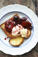 poached prunes and cherries