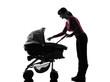 woman prams baby silhouette