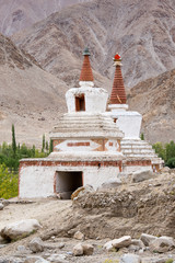 Tall Shanti Stupa in Chemdey Buddhist monastery, Ladakh, India