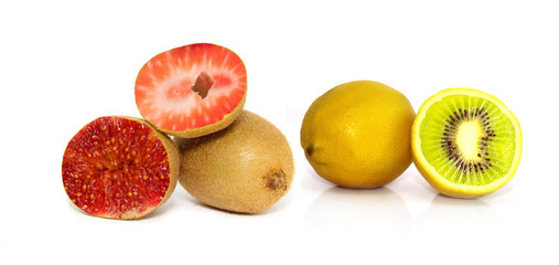 Zitrone Kiwi Erdbeere Feige Fotomontage isoliert