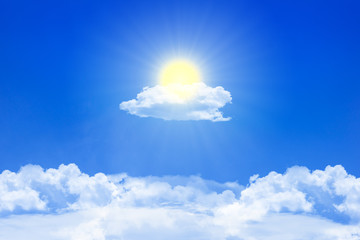 sun and clouds on the blue sky