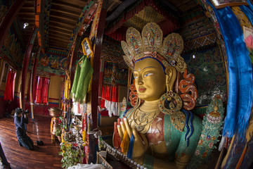 The statue of Maitreya Buddha at Thiksey Monastery