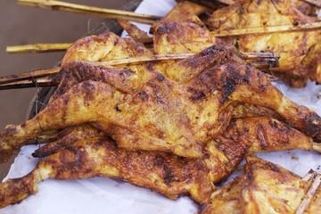 Grilled chicken in the market