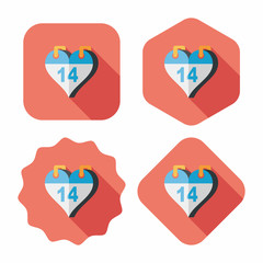 Valentine's Day February fourteen flat icon with long shadow,eps