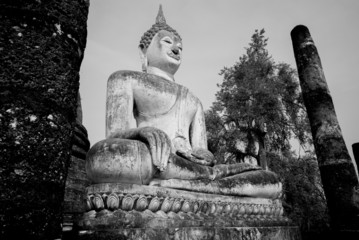 Black and White Buddha statue Sukhothai, Thailand