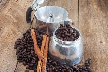 Coffee pot and coffee bean still life