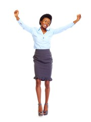Happy african-american business woman