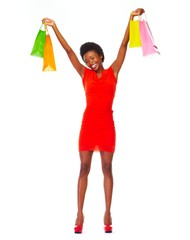 African girl with shopping bags.