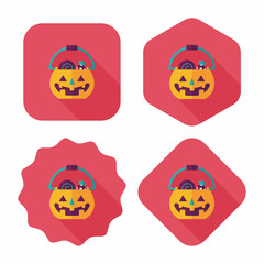 Halloween pumpkin shaped box flat icon with long shadow, eps10