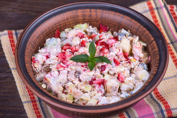 Muesli with lots of dry fruits, nuts, berries and grains