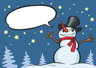 smiling christmas snow man