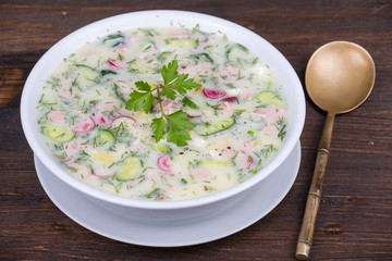 Vegetable soup on yogurt,  sour-milk base -  okroshka