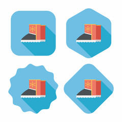 winter boot flat icon with long shadow,eps10
