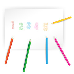 Paper with space for lettering and color wood pencils