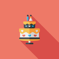wedding cake flat icon with long shadow,eps10