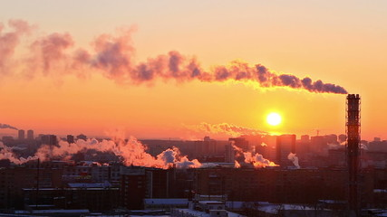 Cold sunset over the city. Ekaterinburg, Russia