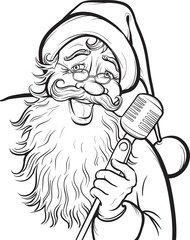 Christmas coloring page with singing Santa Claus