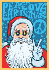 Christmas Hippie poster with Santa Claus