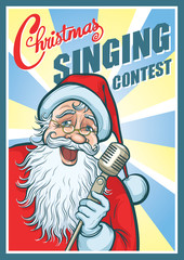 Christmas Singing Contest Poster with Santa Claus