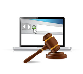 computer browser and law hammer.