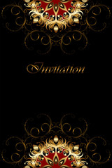Luxury card with gold ornament on a black background.