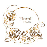 Shiny golden frame with flowers decoration.