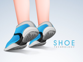 Young human legs in stylish sports shoes.