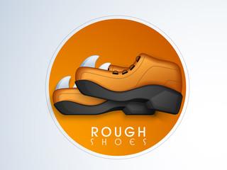 Sticker, tag or label design for men shoes.
