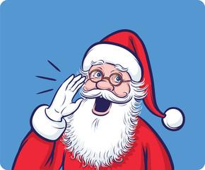 Cartoon Santa Claus calling