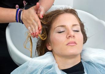 washing hair in salon