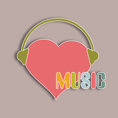 Pink heart with headphone for music.