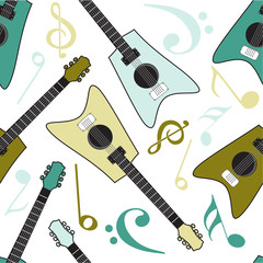 Seamless background with musical notes and guitar.