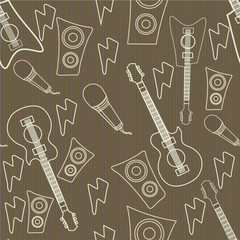 Seamless pattern with musical instruments.