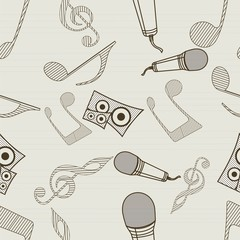 Seamless pattern with musical instrument and notes.
