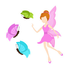 Young angel with butterflies for fairy tales.