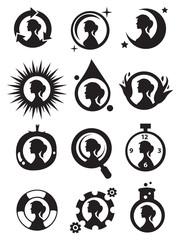 Girls in Circle Icon Set