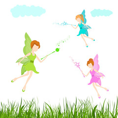 Young angels with magic sticks for fairy tales.