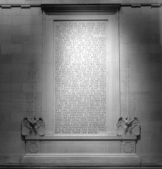 Text of Gettysburg Address at Lincoln Memorial (B&W)
