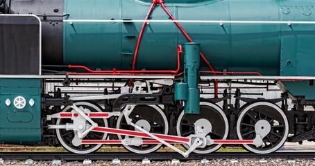 Vintage Steam Locomotive wheels and rods closeup