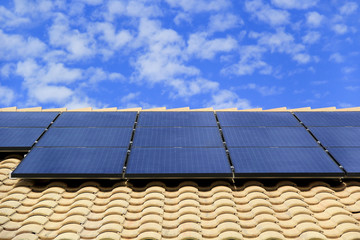 Rooftop Solar Panels on a Southwestern Style House