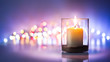 canvas print picture - Romantic night with candlelight and bokeh background