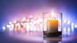 Leinwandbild Motiv Romantic night with candlelight and bokeh background